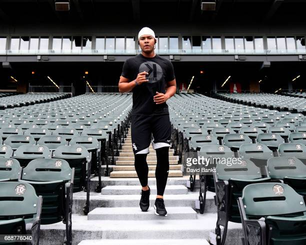 Jose Quintana of the Chicago White Sox runs the stairs as game one of a doubleheader between the Chicago White Sox and the Detroit Tigers is...