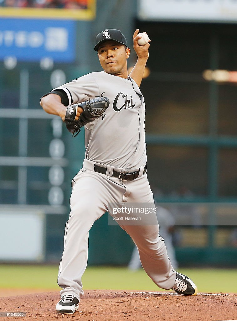 Jose Quintana #62 of the Chicago White Sox throws a pitch in the first inning of their game against the Houston Astros at Minute Maid Park on May 16, 2014 in Houston, Texas.