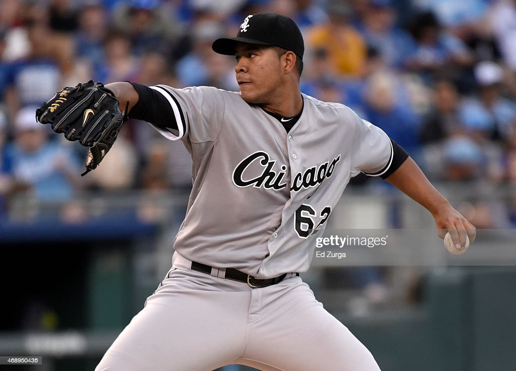 Jose Quintana #62 of the Chicago White Sox throws in the first inning during a game against the Kansas City Royals on April 8, 2015 at Kauffman Stadium in Kansas City, Missouri.