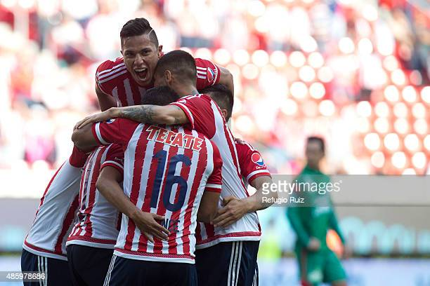 Jose Ramirez of Chivas celebrates after scoring the second goal of his team during a 7th round match between Chivas and Chiapas as part of the...