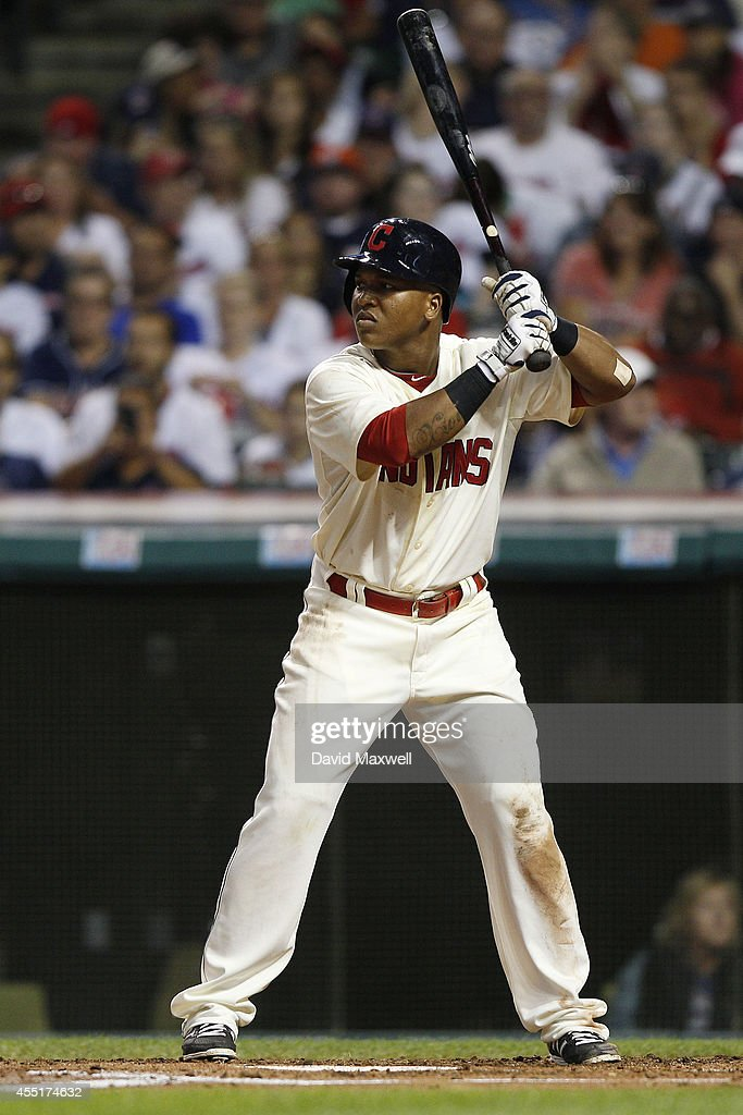 Jose Ramirez #11 of the Cleveland Indians bats against the Houston Astros during the fourth inning of their game on August 23, 2014 at Progressive Field in Cleveland, Ohio.The Indians defeated the Astros 3-2.