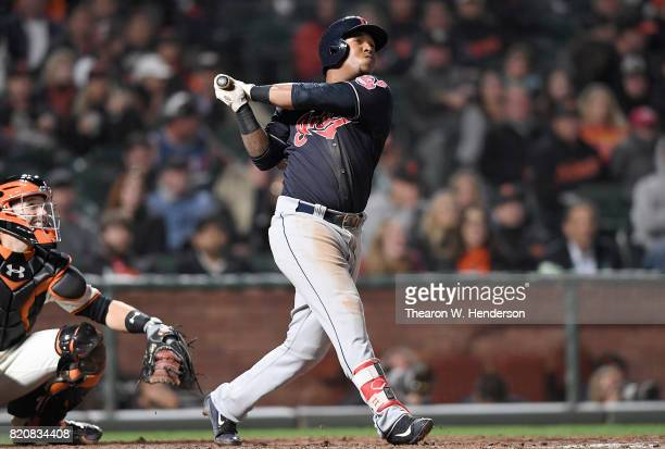 Jose Ramirez of the Cleveland Indians bats against the San Francisco Giants in the top of the ninth inning at ATT Park on July 18 2017 in San...