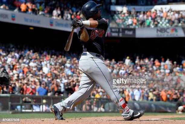 Jose Ramirez of the Cleveland Indians bats against the San Francisco Giants in the top of the ninth inning at ATT Park on July 19 2017 in San...