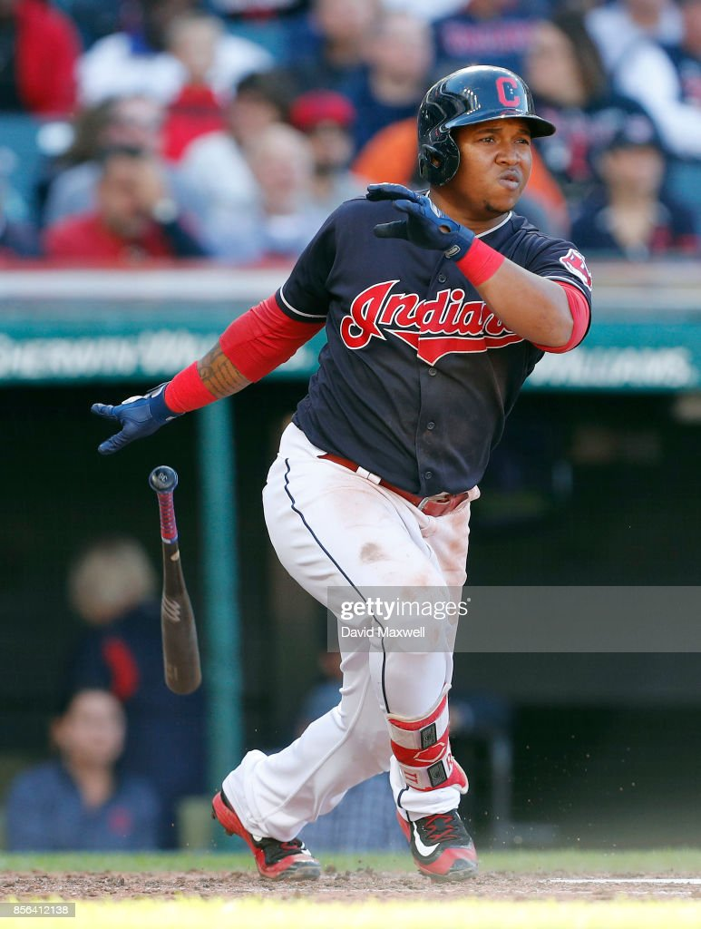 Jose Ramirez #11 of the Cleveland Indians doubles against the Chicago White Sox in the fifth inning at Progressive Field on October 1, 2017 in Cleveland, Ohio. The Indians defeated the White Sox 3-1.