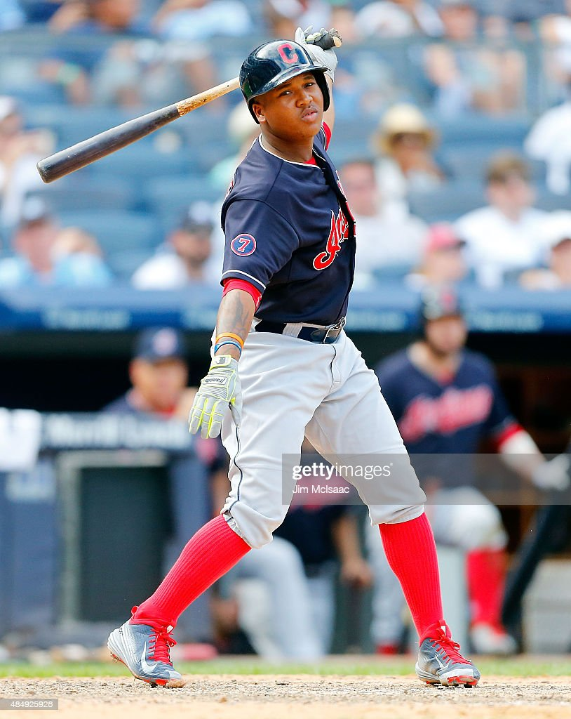 Jose Ramirez #11 of the Cleveland Indians in action against the New York Yankees at Yankee Stadium on August 22, 2015 in the Bronx borough of New York City. The Yankees defeated the Indians 6-2.