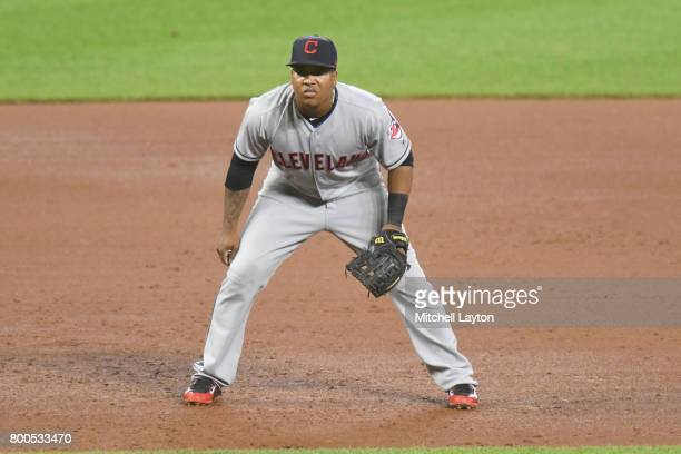 Jose Ramirez of the Cleveland Indians in position during a baseball game against the Baltimore Orioles at Oriole park at Camden Yards on June 21 2017...