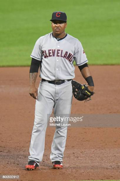 Jose Ramirez of the Cleveland Indians looks on during a baseball game against the Baltimore Orioles at Oriole park at Camden Yards on June 21 2017 in...