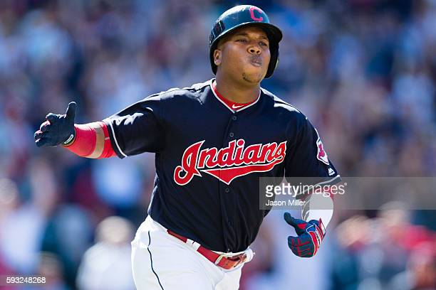Jose Ramirez of the Cleveland Indians rounds the bases after hitting a two run home run during the eighth inning against the Toronto Blue Jays at...