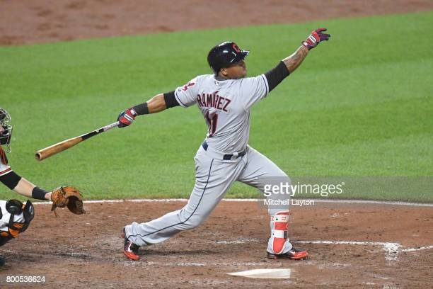 Jose Ramirez of the Cleveland Indians takes a swing during a baseball game against the Baltimore Orioles at Oriole park at Camden Yards on June 21...