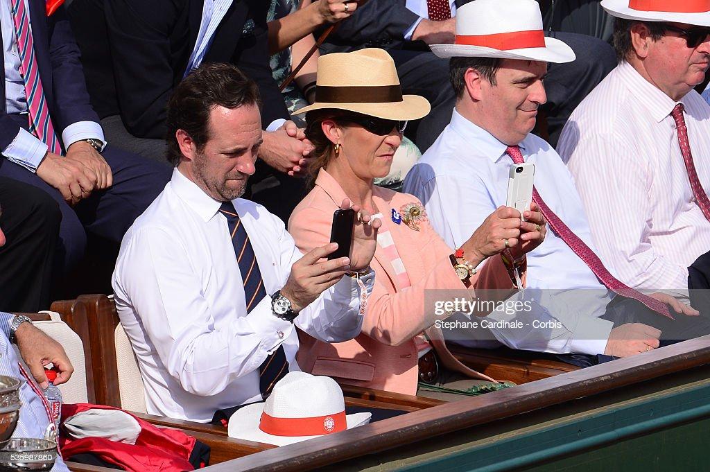 Jose Ramon Bauza Diaz (presidente de las islas Baleares), Infanta Elena of Spain and Miguel Cardenal Carro attend the Men's Final of Roland Garros French Tennis Open 2014 - Day 15 on June 8, 2014 in Paris.