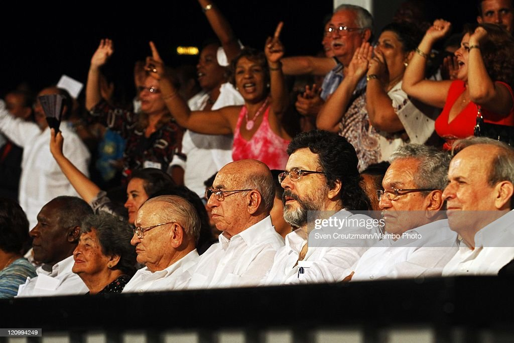 Jose Ramon Machado Ventura (4th L), First Vice President of Cuba, Guillermo Garcia Frias (3rd L), Commander of the Cuban Revolution, Abel Prieto (3rd R), Cuba's Minister of Culture and Ricardo Alarcon (R), President of the Cuban National Assembly, among others, attend a concert of international artists on the eve of the 85th birthday of Cuba's Revolution leader Fidel Castro in the Teatro Karl Marx August 12, 2011 Havana, Cuba. The three hour 'Serenade for Fidelity' (Serenata a la Fidelidad) was organized by the Foundation Guayasemin from Ecuador and the Cuba Ministry of Culture. Fidel Castro fell ill in July 2006 and has stepped back from power, handing over power to his younger brother Raul Castro.