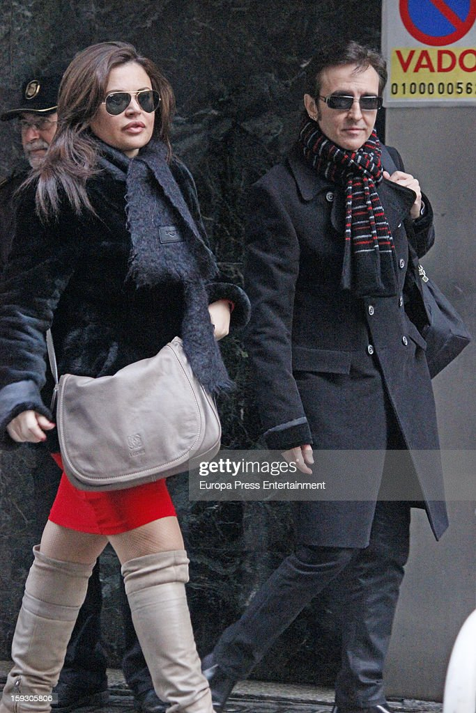 Jose Ramon Marquez 'Ramoncin' and his lawyer Teresa Bueyes attend the Court on January 11, 2013 in Madrid, Spain. The Spanish singer has been accused by Judge Ruz on charges of misappropriation and unfair administration and forgery.
