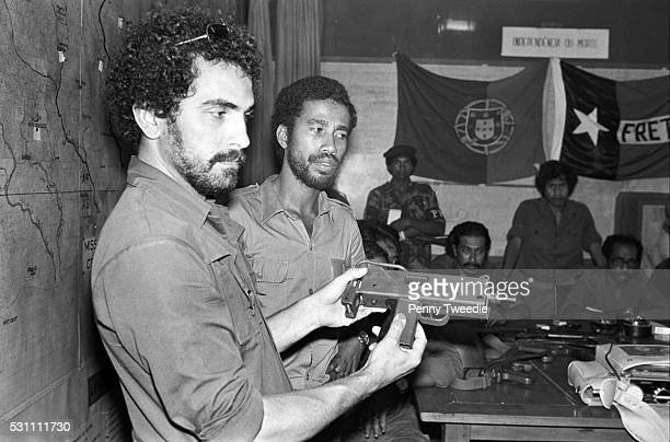 Jose RamosHorta age 25 holding a gun at a meeting with Xavier do Amaral then President of East Timor and other members of Fretilin freedom fighters...