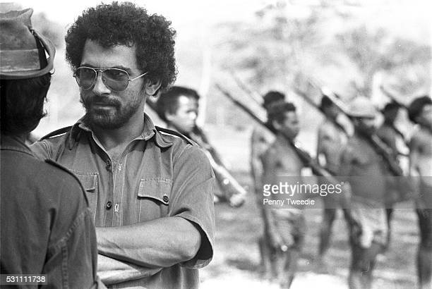 Jose RamosHorta age 25 talks with Fretilin freedom fighters recruiting and training young boys and old men near Dili East Timor October 1975