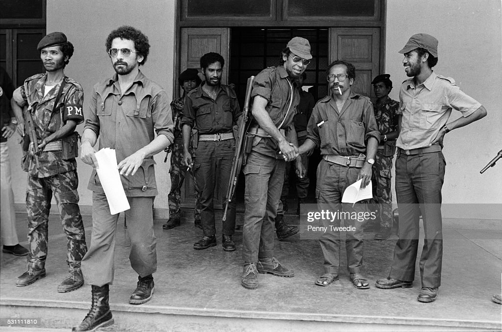 Jose RamosHorta holding papers leaves a meeting with Xavier do Amaral then President of East Timor and other members of Fretilin freedom fighters in...