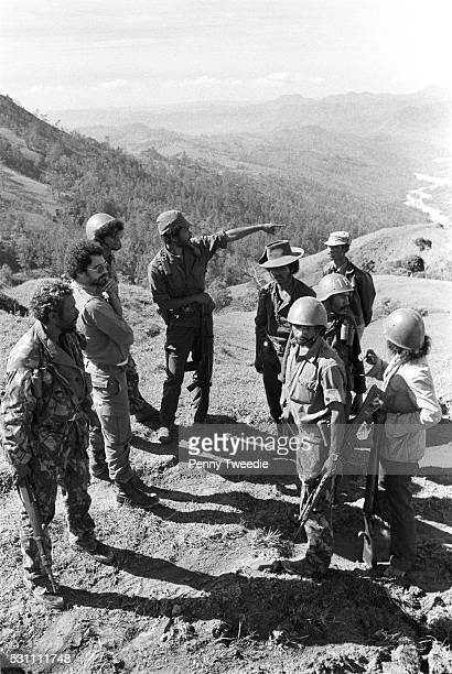 Jose RamosHorta with Fretilin forces in the mountains above Maliana in Lesbos region in October 1975 Fernandez points to where the Indonesian...