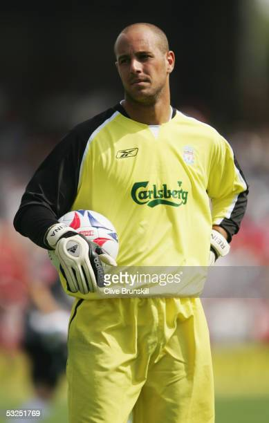 Jose Reina of Liverpool prior to the preseason friendly match between Wrexham and Liverpool held at the Racecourse Ground on July 9 2005 in Wrexham...