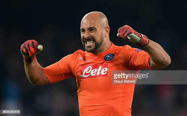 Jose Reina of SSC Napoli celebrates his sides first goal during the UEFA Champions League group F match between SSC Napoli and Manchester City at...