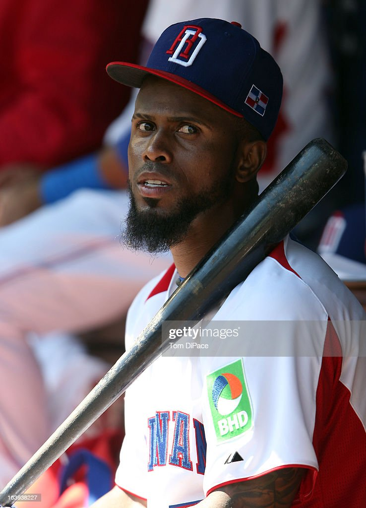 Jose Reyes #7 of Team Dominican Republic is seen in the dugout during Pool 2, Game 6 against Team Puerto Rico in the second round of the 2013 World Baseball Classic on Saturday, March 16, 2013 at Marlins Park in Miami, Florida.