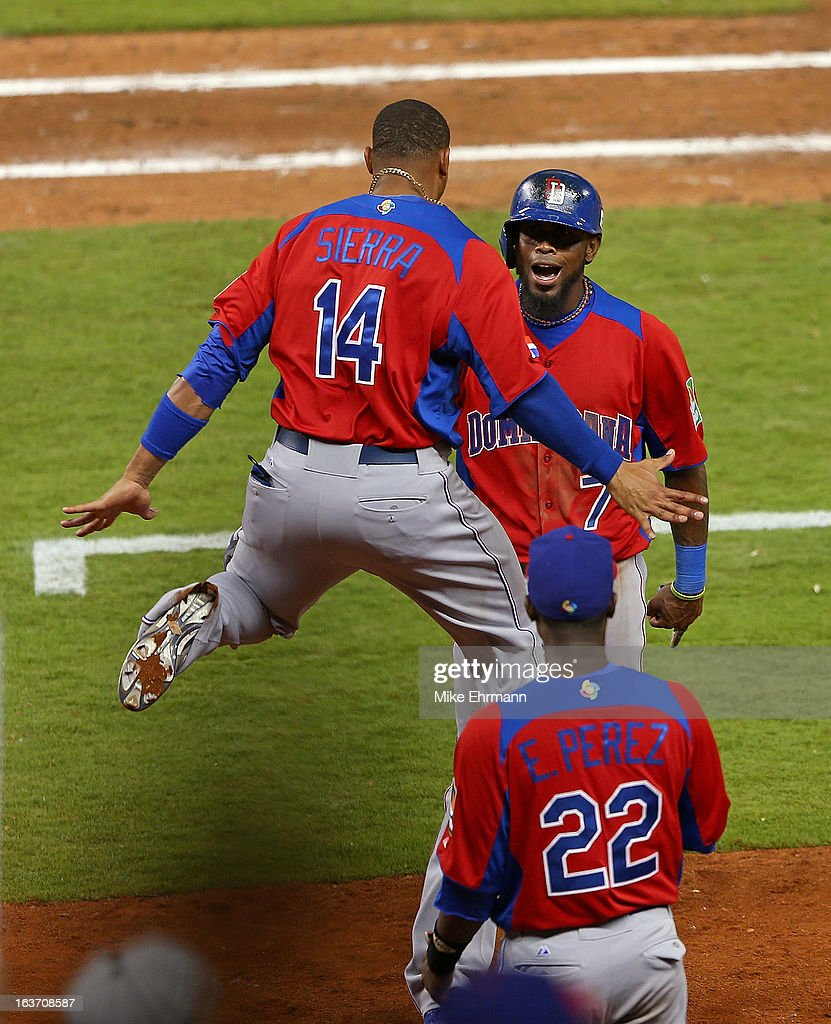 Jose Reyes #7 of the Dominican Republic celebrates after a hit during a World Baseball Classic second round game against the USA at Marlins Park at Marlins Park on March 14, 2013 in Miami, Florida.