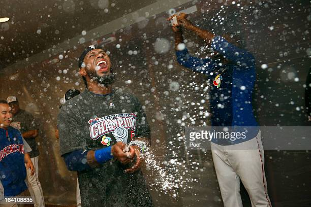 Jose Reyes of the Dominican Republic celerbates after defeating Puerto Rico to win the Championship Round of the 2013 World Baseball Classic by a...