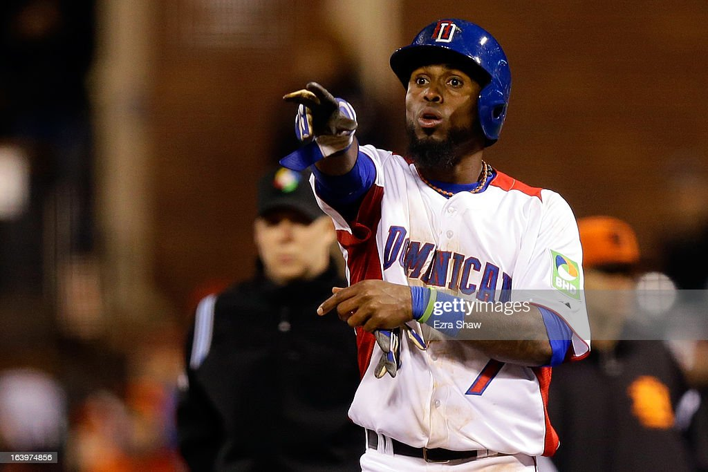 Jose Reyes #7 of the Dominican Republic reacts after hitting a single in the fifth inning against the Netherlands during the semifinal of the World Baseball Classic at AT&T Park on March 18, 2013 in San Francisco, California.