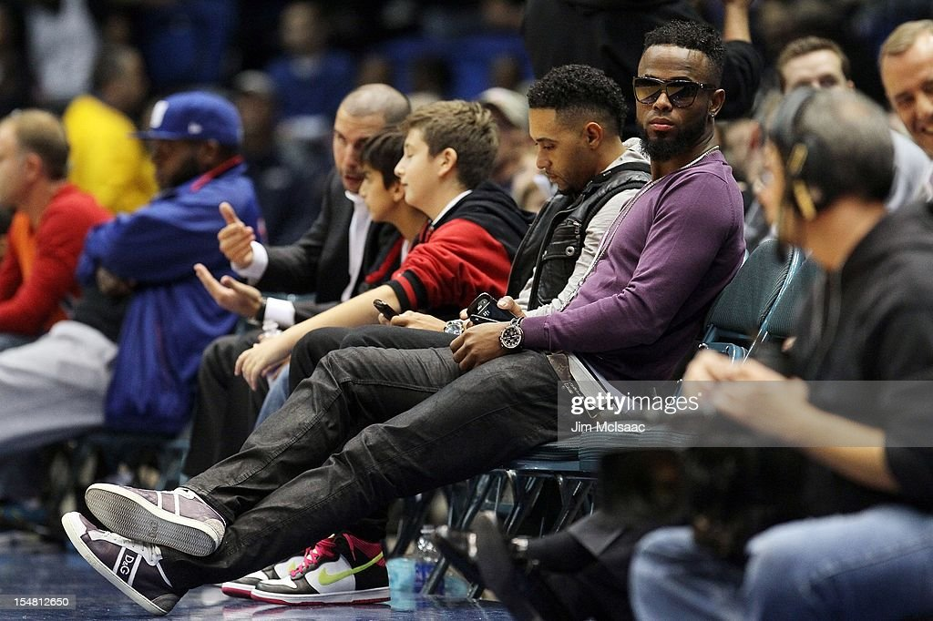 Jose Reyes of the Miami Marlins attends the preseason game between the Brooklyn Nets and the New York Knicks at Nassau Coliseum on October 24 2012 in Uniondale, New York The Knicks defeated the Nets 97-95.