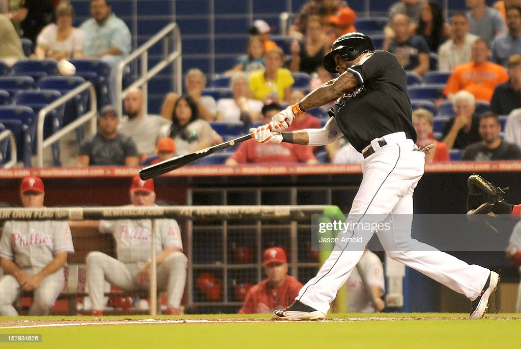 Jose Reyes #7 of the Miami Marlins bats during a game against the Philadelphia Phillies at Marlins Park on September 28, 2012 in Miami, Florida.