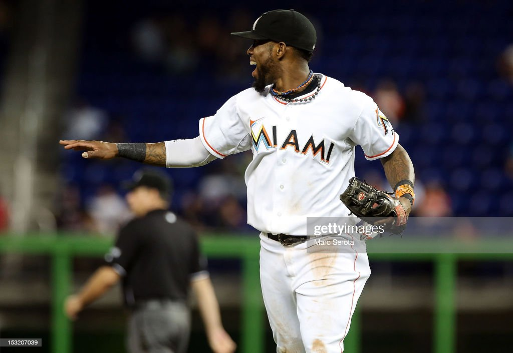 Jose Reyes #7 of the Miami Marlins reacts against the New York Mets at Marlins Park on October 1, 2012 in Miami, Florida.
