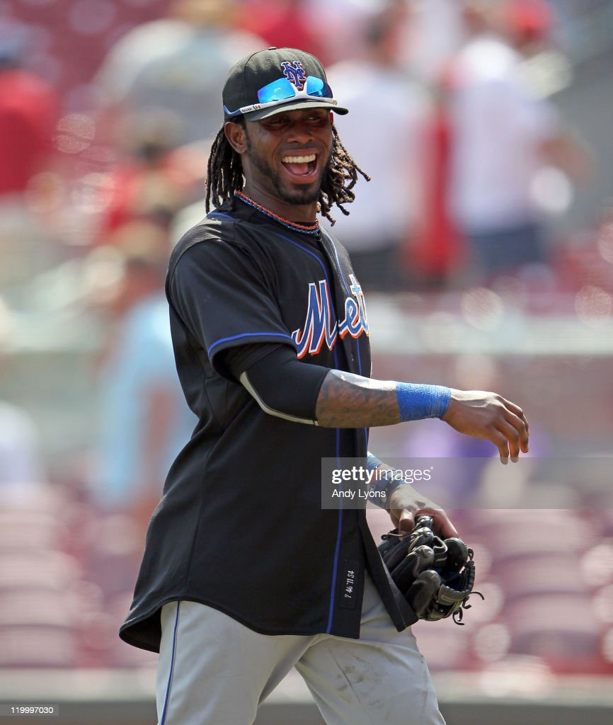 Jose Reyes #7 of the New York Mets celebrates after the Mets beat the Cincinnati Reds 10-9 at Great American Ball Park on July 28, 2011 in Cincinnati, Ohio.