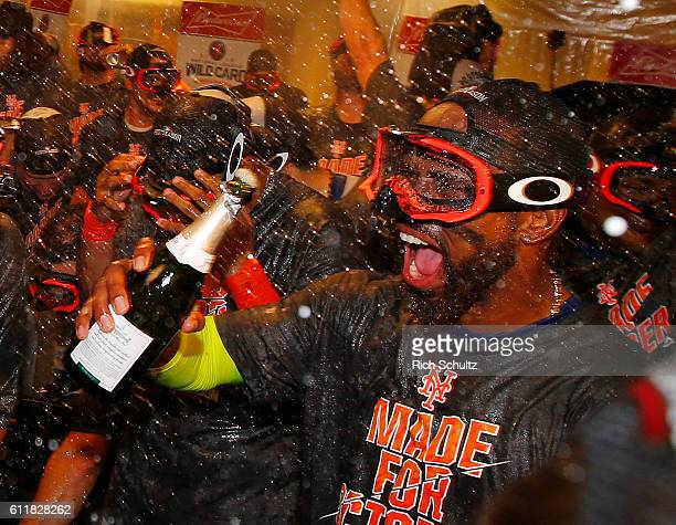 Jose Reyes of the New York Mets celebrates with his teammates after the Mets defeated the Philadelphia Phillies 53 during a game at Citizens Bank...