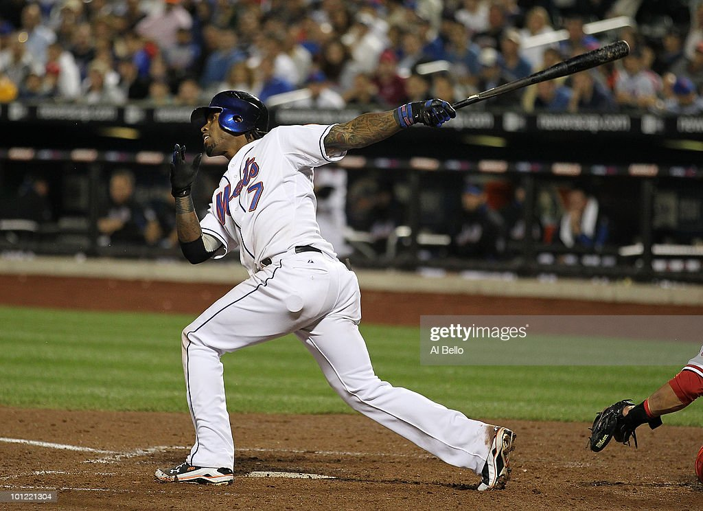 Jose Reyes #7 of the New York Mets hits a double in the seventh inning and drives in two runs against the Philadelphia Phillies during their game on May 27, 2010 at Citi Field in the Flushing neighborhood of the Queens borough of New York City.