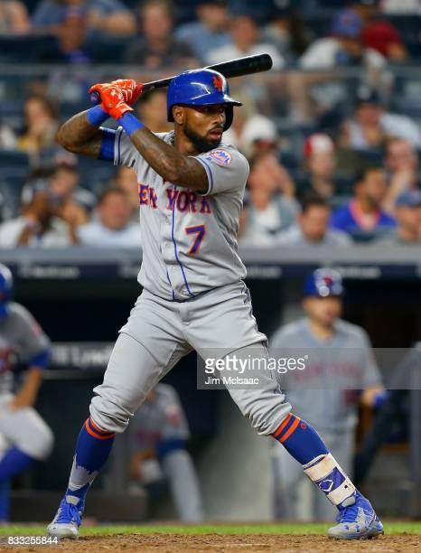 Jose Reyes of the New York Mets in action against the New York Yankees at Yankee Stadium on August 15 2017 in the Bronx borough of New York City The...