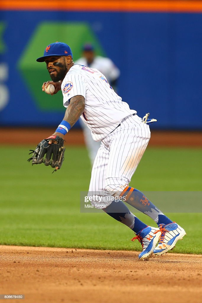 Jose Reyes #7 of the New York Mets in action against the Philadelphia Phillies at Citi Field on June 30, 2017 in the Flushing neighborhood of the Queens borough of New York City. New York Mets defeated the Philadelphia Phillies 2-1.