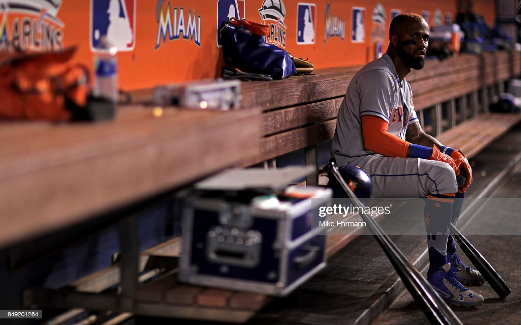 Jose Reyes #7 of the New York Mets looks on during a game against the Miami Marlins at Marlins Park on September 18, 2017 in Miami, Florida.
