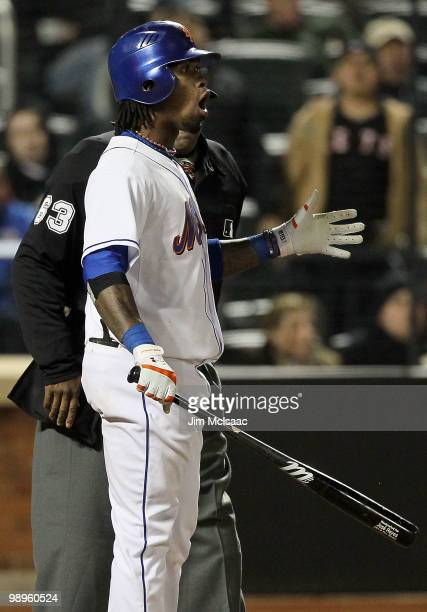 Jose Reyes of the New York Mets reacts after being called out on strikes to end the seventh inning against the Washington Nationals on May 10 2010 at...
