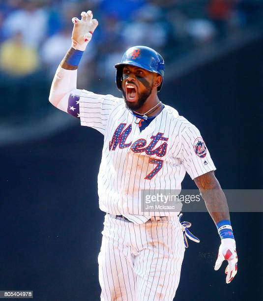 Jose Reyes of the New York Mets reacts after his second inning RBI double against the Philadelphia Phillies at Citi Field on July 1 2017 in the...