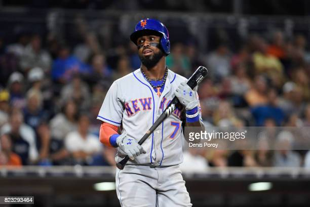 Jose Reyes of the New York Mets reacts after taking a strike during the ninth inning of a baseball game against the San Diego Padres at PETCO Park on...