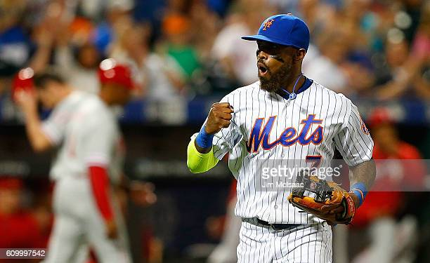 Jose Reyes of the New York Mets reacts as he runs off the field after a seventh inning ending double play against the Philadelphia Phillies at Citi...