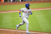 Jose Reyes of the New York Mets runs to first base during a MLB game against the Miami Marlins at Marlins Park on July 24 2016 in Miami Florida