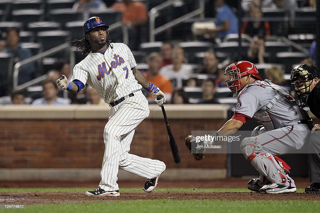 Jose Reyes #7 of the New York Mets strikes out in the sixth inning against the Washington Nationals at Citi Field on September 12, 2011 in the Flushing neighborhood of the Queens borough of New York City.