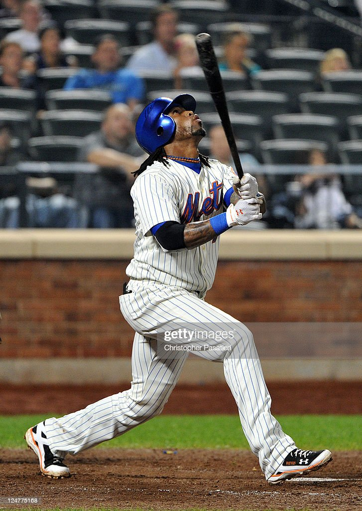 Jose Reyes #7 of the New York Mets watches his pop up in the bottom of the eighth inning against the Washington Nationals at Citi Field on September 12, 2011 in the Flushing neighborhood of the Queens borough of New York City.