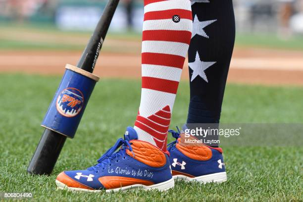 Jose Reyes of the New York Mets wears 4th July socks for the holiday during a baseball game against the Baltimore Orioles at Nationals Park on July 3...