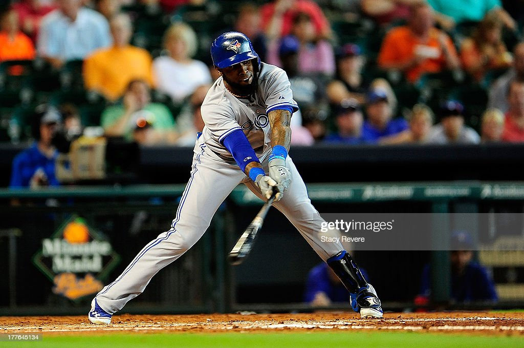 Jose Reyes #7 of the Toronto Blue Jays bats in the third inning during a game against the Houston Astros at Minute Maid Park on August 25, 2013 in Houston, Texas.