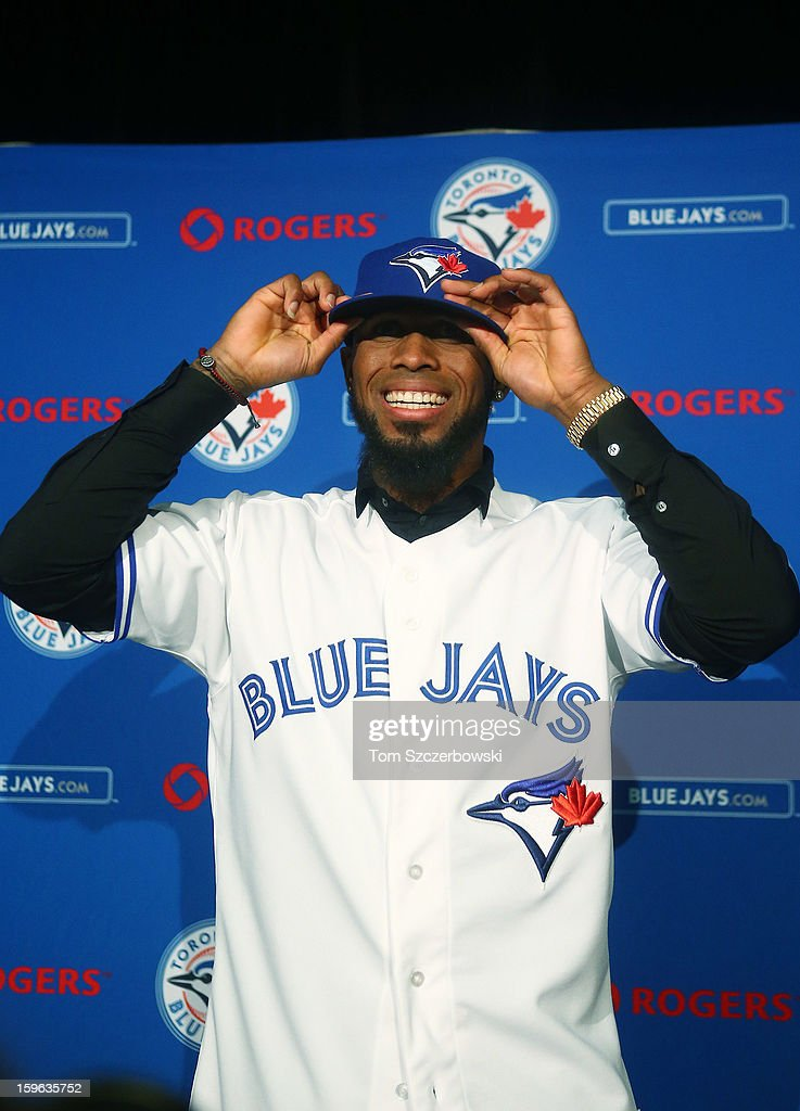 Jose Reyes #7 of the Toronto Blue Jays is introduced at a press conference at Rogers Centre on January 17, 2013 in Toronto, Ontario.