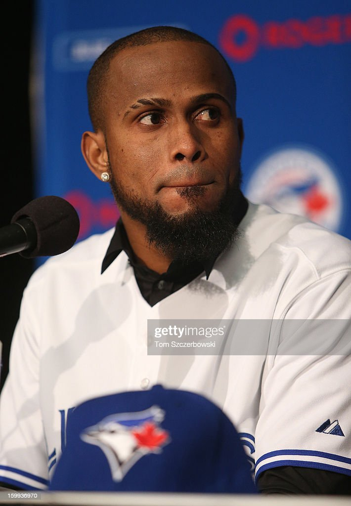 Jose Reyes #7 of the Toronto Blue Jays is introduced at a press conference at Rogers Centre on January 17, 2013 in Toronto, Ontario, Canada.