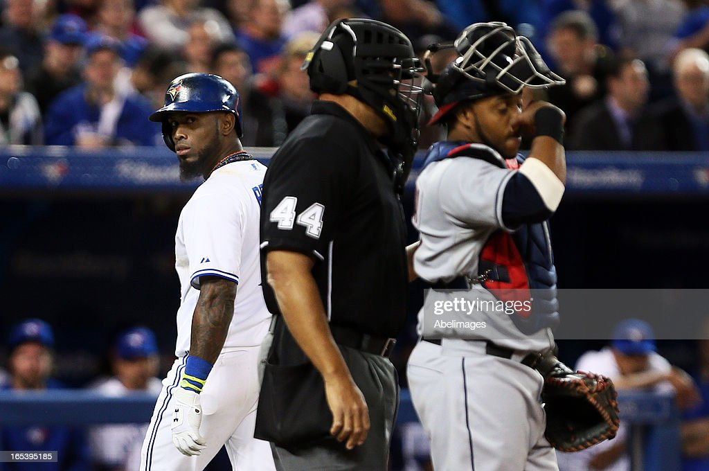 Jose Reyes #7 of the Toronto Blue Jays looks back at umpire Kerwin Danley after a strikeout during MLB action against the Cleveland Indians at the Rogers Centre April 3, 2013 in Toronto, Ontario, Canada.