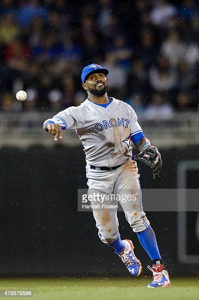 Jose Reyes of the Toronto Blue Jays makes a play at shortstop against the Minnesota Twins during the game on May 29 2015 at Target Field in...
