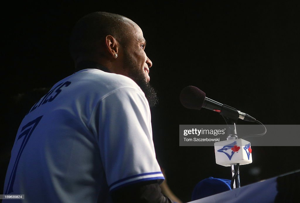 Jose Reyes #7 of the Toronto Blue Jays speaks to reporters as he is introduced at a press conference at Rogers Centre on January 17, 2013 in Toronto, Ontario.