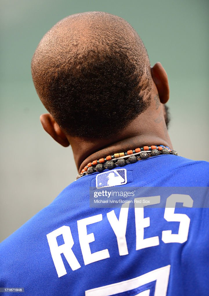 Jose Reyes #7 of the Toronto Blue Jays sports a new hair cut before action against the Boston Red Sox in the first inning on June 27, 2013 at Fenway Park in Boston, Massachusetts.